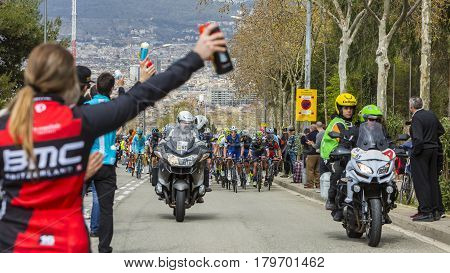 Barcelona Spain - March27 2016: The peloton approaching the alimentation point during Volta Ciclista a Catalunya on the top of Montjuic in Bracelona Spain on March 27 2016.