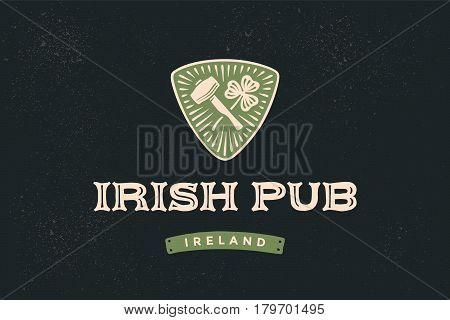 Classic retro styled label for Irish Pub with logo and text irish pub, ireland and hand-drawn hammer of blacksmith and shamrock of clover, Lofo for beer pub, bar and restaurants. Vector Illustration