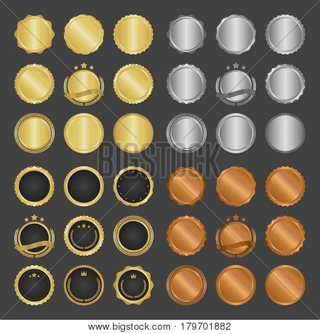 Collection Of Modern, Gold Circle Metal Badges, Labels And Design Elements. Vector Illustration