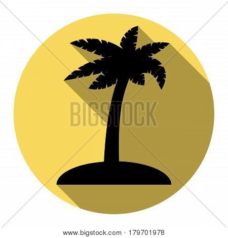 Coconut palm tree sign. Vector. Flat black icon with flat shadow on royal yellow circle with white background. Isolated.