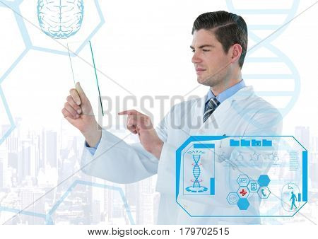 Digital composite of Man in lab coat holding up glass device behind blue medical interface against white skyline
