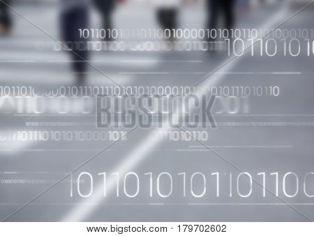 Digital composite of White binary code against blurry road with people