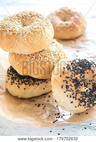 A stack of bagels on the baking paper