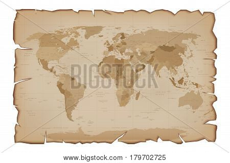 Old Map on Paper Scroll with tattered edges. Retro illustration Isolated on white background.