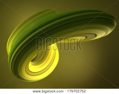Green abstract twisted shape. Computer generated geometric illustration. 3D rendering