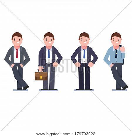Set of business people isolated on white. Collection of men, dressed in business style. Business men smile. Formal suit, tie, different poses of man. Vector cartoon style.