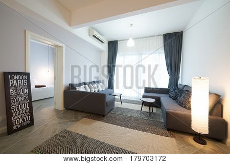 KUALA LUMPUR MALAYSIA - MARCH 23 2017: Cozy living room in Regalia service apartment Regalia service apartment is Kuala Lumpur's newest prestigious high-rise residential earmark as one of the city's iconic .