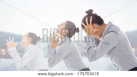 Digital composite of Stressed woman duplicated shouting to sky