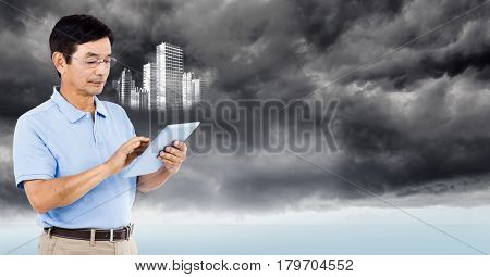 Digital composite of Man with tablet and white building graphic against stormy sky
