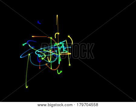 Abstract shape of motion particles. Isolated on black background. Luminance effect. Digital colorful illustration.