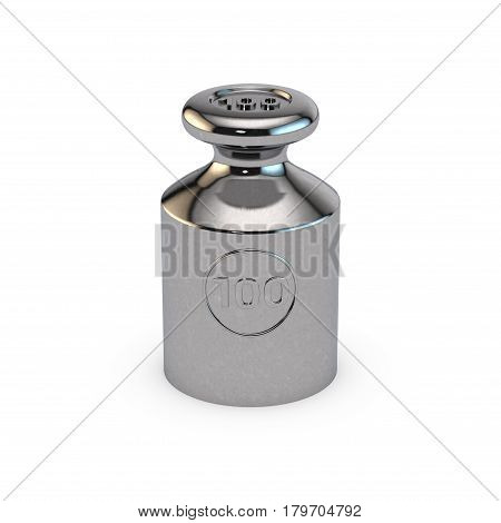 Metalic calibration weight. Isolated on white background. 3D rendering illustration.