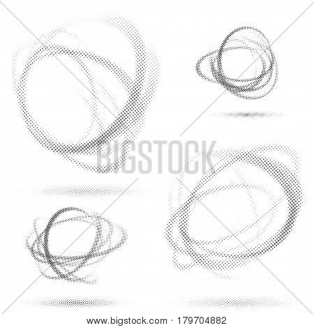 Abstract dotted orbit swirl abstract patterns particle halftone  book style tornado round spinning elements. Vector illustration
