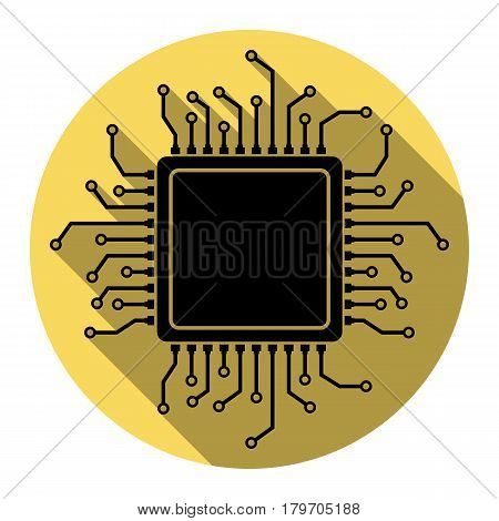 CPU Microprocessor illustration. Vector. Flat black icon with flat shadow on royal yellow circle with white background. Isolated.