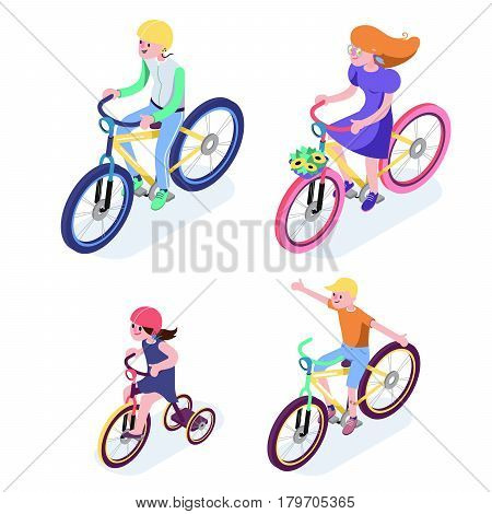 Isometric People. Isometric Bicycle isolated. Family Cyclists group riding bicycle. Cyclist icon. 3D Flat isometric people set cyclist bicycle icons. Fitness workout on bicycle vector illustration