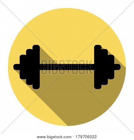 Dumbbell weights sign. Vector. Flat black icon with flat shadow on royal yellow circle with white background. Isolated.