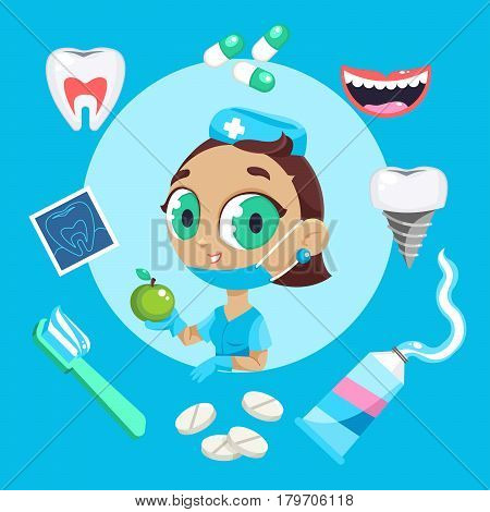 Dental care symbols. Teeth dental care mouth health set with inspection dentist treatment. Dentist with different dental equipment isolated. Profession background vector illustration