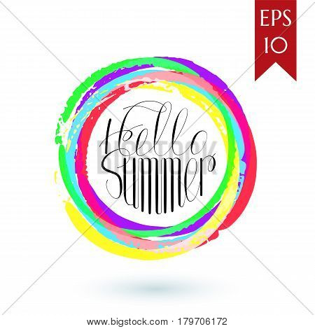 Hello Summer Colorful Card.lettering Hello Summer With Bright Backdrop.