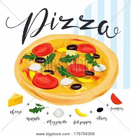 Vector pizza with many isolated components. Italian Pizza Ingredients Collection. Fast food Italian toppings