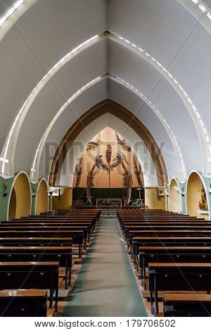 Pont de Suert Spain - March 30 2017: Interior of the Parish Church in Catalonia Spain. Protected as a good of local cultural interest. Work of the architect Eduardo Torroja Miret