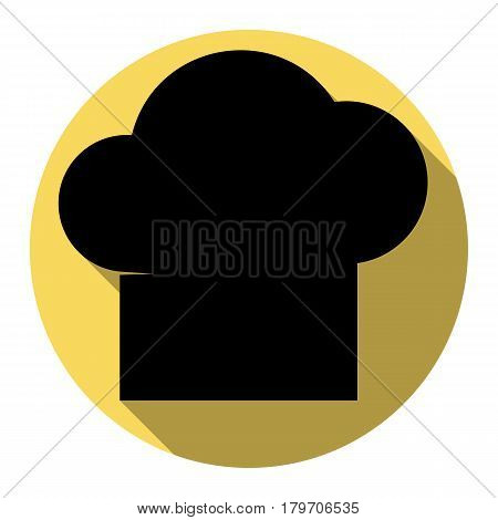 Chef cap sign. Vector. Flat black icon with flat shadow on royal yellow circle with white background. Isolated.