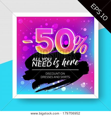 Expressive Vector Sale Template with Grunge Watercolor Splash and Calligraphy. Trendy Colorful Elements Bokeh Effect. Advertising For Store Web Banner Pop-up Website Flyer.
