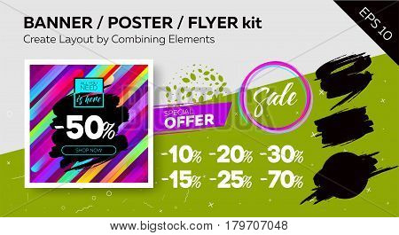 Bright Vector Sale Template with Grunge Watercolor Brushstroke. Kit of Trendy Colorful Elements. Advertising For Shop Web Banner Pop-up Poster Flyer.