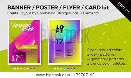Pack of Bright Vector Poster Templates with Text Grids. Trendy Geometric Patterns Minimal Design Colorful Backgrounds. Layout for Banner DJ Poster Night Club Flyer Greeting Card.