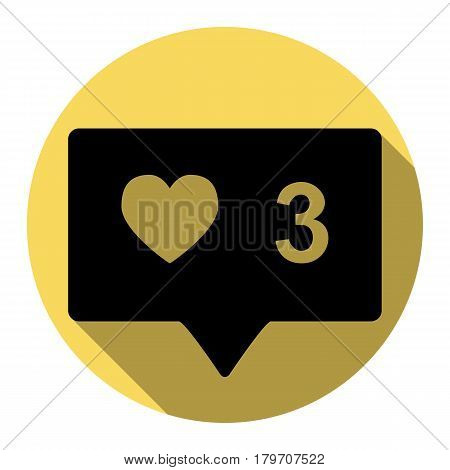 Like and comment sign. Vector. Flat black icon with flat shadow on royal yellow circle with white background. Isolated.