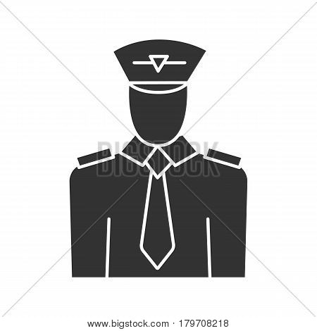 Pilot icon. Silhouette symbol. Negative space. Vector isolated illustration