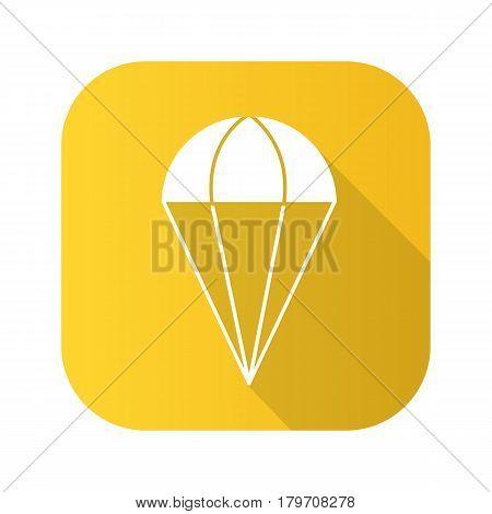 Parachute flat design long shadow icon. Vector silhouette symbol