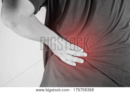 backache injury in humans .backache pain,joint pains people medical, mono tone highlight at backache