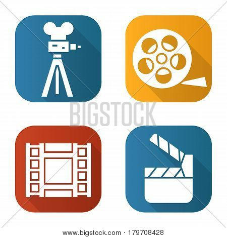 Filming flat long shadow icons set. Film camera, video , reel, movie clapperboard. Isolated vector illustration
