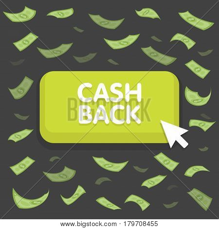 Cash Back Button Concept. Dollar Money Rain. Hundred Banknotes Flying. Seamless Finance Background.
