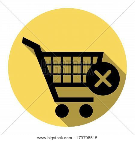 Shopping Cart with delete sign. Vector. Flat black icon with flat shadow on royal yellow circle with white background. Isolated.