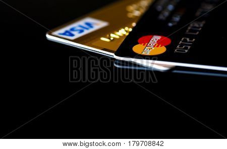 Estonia, Tallinn, March 23, 2017. Plastic card VISA, Mastercard. Selective focus
