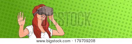 Woman Wear Virtual Reality Digital Glasses Pop Art Colorful Retro Style Vector Illustration