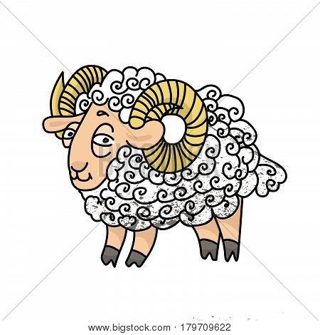 Vector illustration of white lamb on transparent background