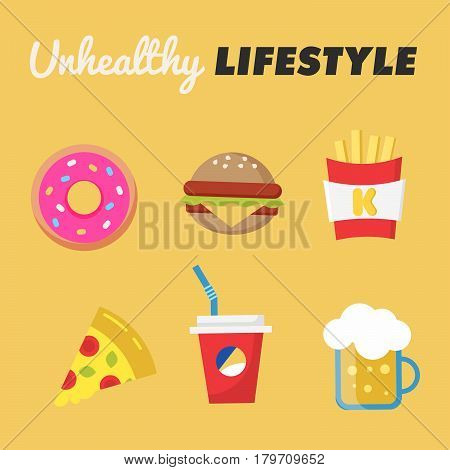 Unhealthy Lifestyle. Concept of unhealthy lifestyle. Donut, beer, fries, Burger, pizza, soda. Vector illustration