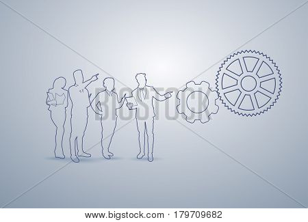 Business People Group Silhouette Brainstorming Executives Team Businesspeople Teamwork Concept Vector Illustration