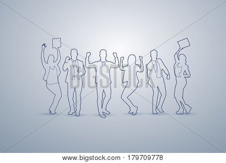 Business People Group Silhouette Happy Executives Team Successful Businesspeople Teamwork Concept Vector Illustration