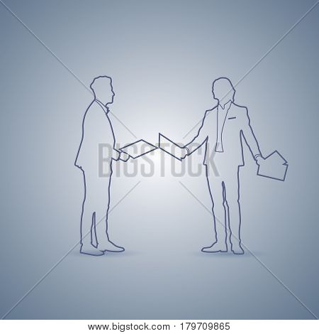 Two Business Man Silhouette Meeting Speak Discussion Document Concept Vector Illustration