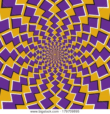Optical motion illusion background. Purple shapes revolve around the center on yellow background.