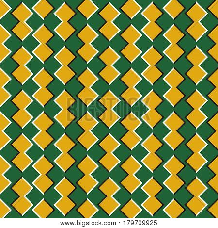 Optical illusion seamless pattern. Golden shapes move on green background.