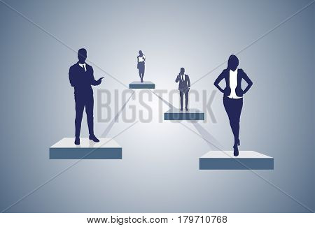 Business Company Structure Management Organization Chart Silhouette Businesspeople Group People Team Vector Illustration