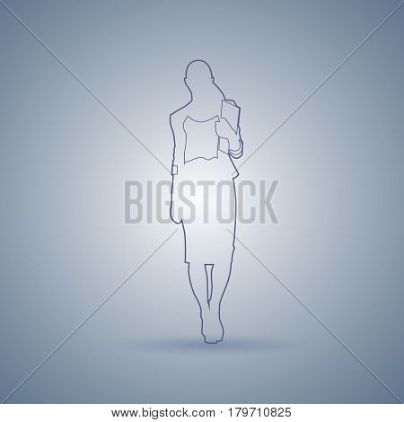 Business Woman Sketch Silhouette Standing Full Length Over Gray Background Vector Illustration