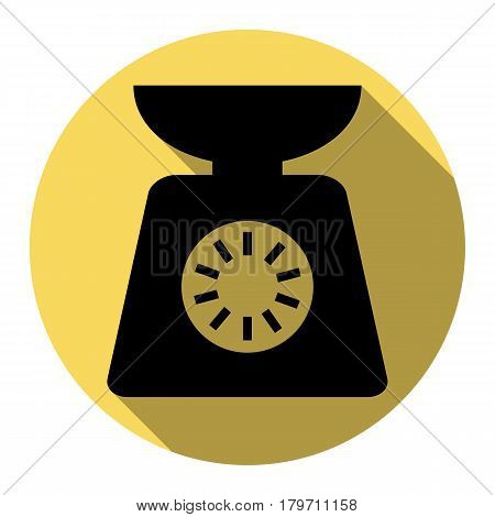 Kitchen scales sign. Vector. Flat black icon with flat shadow on royal yellow circle with white background. Isolated.
