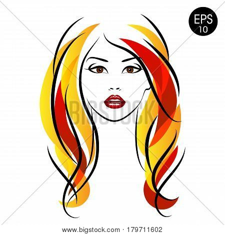 Vector Stock Woman with Colored hair. Beauty Girl Portrait with Hairstyle and Earrings for your design