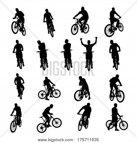 illustration of set black color male bicyclist silhouettes isolated on white background