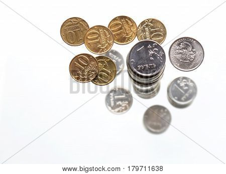 A Handful Of 10-kopeek  And One Russian Rouble  Coins On White