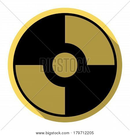 Vector CD or DVD sign. Vector. Flat black icon with flat shadow on royal yellow circle with white background. Isolated.